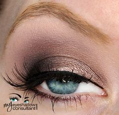 MAC eyeshadows used:  Satin Taupe (inner half of lid)  Beauty Marked (outer half of lid)  Quarry (crease) – you could also use 'Copperplate' here Blanc Type (blend)
