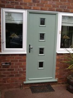 4 Square Glazed Composite Front Door in Chartwell Green http://accoweb.com/