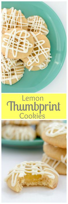 Lemon Thumbprint Cookies - Buttery vanilla shortbread cookies filled with lemon curd and drizzled with white chocolate. | bakedbyanintrovert.com