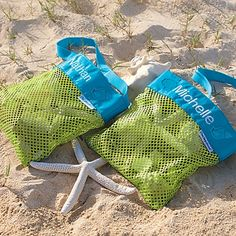 Sand Away Beach Treasures Bag    This is great if your kiddos are rock and shell collectors like mine.  You won't be coming home with your pockets filled with shells and sand anymore.  Gives kid the perfect place for their treasures and the mesh lets the sand fall out before you reach the car.
