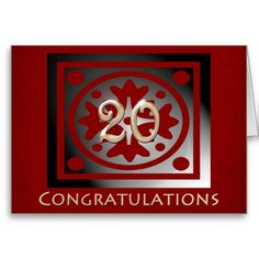 Employee 20th Anniversary Elegant Red Oak Greeting Cards