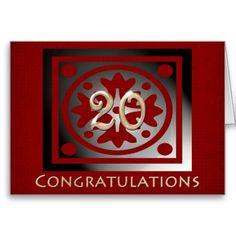 Employee 20th Anniversary Elegant Red Oak Greeting Cards