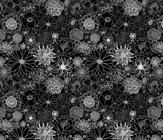 White on Black Floral fabric by tarynillustrates on Spoonflower - custom fabric