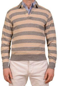 feba6fd1e RUBINACCI Napoli Gray-Beige Striped Cashmere Ribbed Polo Sweater NEW