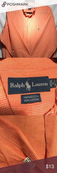 Polo Ralph Lauren longs sleeve Yarmouth Shirt • Used • 2 minor stains in back part of shirt barely visible as seen in pictures • Otherwise in great conditions • No rips or tears • Comes from a smoke free home • Message me for any questions or further pictures about the item Polo by Ralph Lauren Shirts Dress Shirts