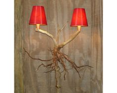 Rustic Wall Lamp Natural Mountain Laurel root by MalcolmLaurel:  Intertwined