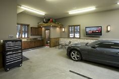Garage Interiors Design Ideas  Pictures  Remodel  and Decor   What s     Garage Man Cave Designs with Toilet Area 612x408 jpg  612    408