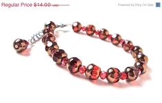 ON SALE Cherry red and gold beaded bracelet  by sparklecityjewelry