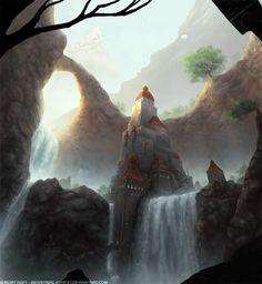 Waterfall Castle by Industrial-Forest on DeviantArt