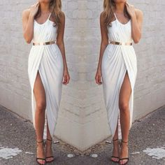 really simple white front slit maxi
