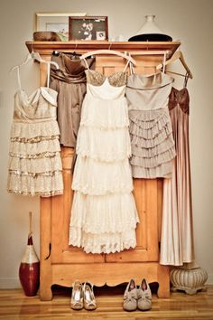 Love this idea for bridesmaids of mismatched dresses but still beautiful and within the color scheme.