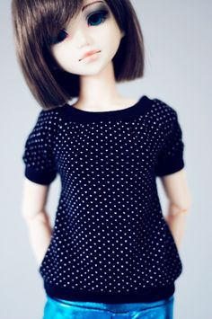 $15 #sugardoll #msd #bjd #unoa #doll #clothes Black with little White dots t-shirt msd size