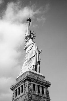 Free stock photo of black-and-white, landmark, new york, Statue of Liberty