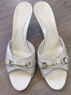 Gucci Guccissima Shoes Mystic White Open Toe Size 41C  Slide Italy  | eBay