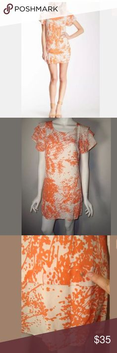 """RACHAEL ZOE sz 2 Ines Coral Dress NEW WITHOUT TAG **SMALL DEFECT! Has small stain on bottom front of dress. Need to be Dry Cleaned See picture   RACHEL ZOE   White Coral Floral INES 100% Silk Sheath Dress Designer   SIZE: 2 CONDITION: New with Tag ANY FLAWS: Stain on front of dress. See picture COLOR: White Coral-peach ANY STRETCH: No    MEASUREMENTS (Garment laid flat)  BUST WIDTH (Underarm to underarm): 17"""" aprox  LENGTH (shoulder to bottom):  32"""" aprox Rachel Zoe Dresses"""