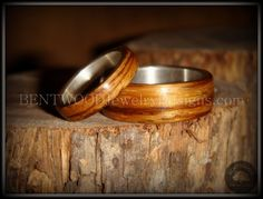 Bentwood Zebrawood Ring Set with Silver Metal Core