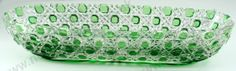 """VINTAGE GLASS MAKERS. c.1920s BACCARAT """"DIAMANTS 3863"""" GREEN OVERLAY CRYSTAL DISH. To visit my website click here: http://www.richardhoppe.co.uk or for help or information email us here: info@richardhoppe.co.uk"""