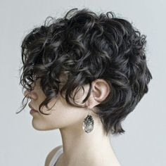 Short asymmetrical curly hair