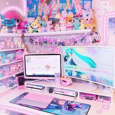 Decorating a Game Room Cute Room Ideas, Cute Room Decor, Ultimate Gaming Room, Kawaii Bedroom, Pastel Room, Gaming Room Setup, Game Room Design, Gamer Room, Girl Rooms