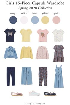 Girl's Spring 2020 Capsule Wardrobe - A complete girl's capsule wardrobe for the season! Tops, bottoms, dress, jumpsuit, layers and shoes for her closet with convenient shopping links from 1 retailer. Capsule Wardrobe Women, Kids Wardrobe, Little Girl Outfits, Kids Outfits, Travel Outfits, Toddler Fashion, Girl Fashion, Curvy Fashion, Style Fashion