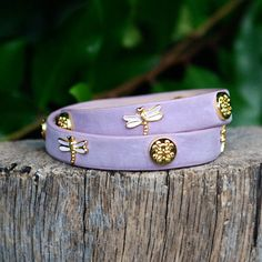 Meagen Double Wrap With Animals - Lavender Dragonfly (Presale - ships – Rustic Cuff