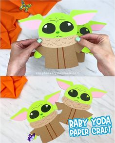 Baby Yoda Craft If your kids love Star Wars, Disney or The Mandalorian, they're going to want to make this easy Baby Yoda paper craft for kids! It's super simple and comes with a free printable template. Download it and make at home with the kids today!   #simpleeverydaymom #babyyoda #kidscrafts<br> Make this cute Baby Yoda craft for kids from the Disney+ show, The Mandalorian. It's a simple papercraft that comes with a free printable template. Disney Christmas Crafts, Disney Crafts For Kids, Paper Crafts For Kids, Crafts For Kids To Make, Toddler Crafts, Easter Crafts, Fun Crafts, Projects For Kids, Art For Kids
