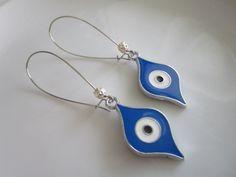 Blue and silver colored evil eye dangle hoop by LeeliaDesigns