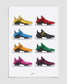 Originaly created sneaker illustrations and limited edition posters. The Ideal prints for sneakerheads. Illustrated kicks by Dan Freebairn. Sneakers Wallpaper, Shoes Wallpaper, Pop Art Wallpaper, Best Sneakers, Adidas Sneakers, Sneakers Fashion, Human Race Shoes, Nike Wallpaper Iphone, Cartoon Shoes