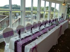 Beaufort Weddings - Plum, lavender and white head table for a wedding held at Traditions on MCRD Parris Island in Beaufort, SC.