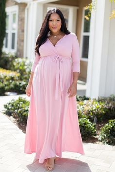 1fa13102fd6 Pink Draped Long Sleeve Plus Size Maternity Maxi Dress - A solid plus maternity  maxi dress