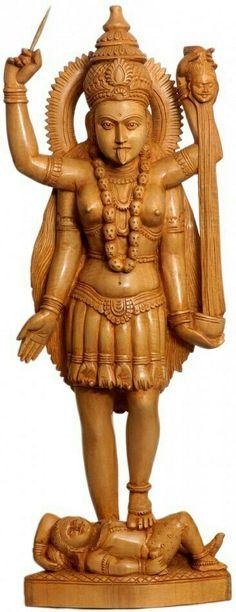 Find Wooden Sculptures & Carvings of Hindu Gods & Goddesses like Lord Ganesha, Devi Maa & more at ExoticIndia – the online Indian Art Store. Kali Goddess, Mother Goddess, Durga Kali, Hinduism, Hindu Deities, Kali Ma, Sun Worship, Mughal Empire, Mythological Creatures