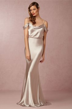 Silver metallic silk bridesmaid dresses at BHLDN