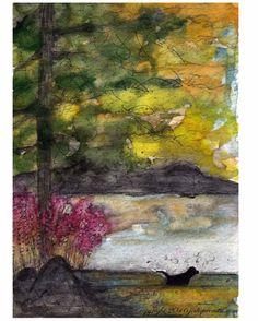 black dog painting illustration whimsical pet art watercolor
