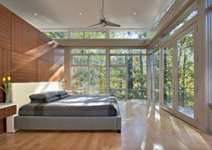 Master bedroom. Lakefront Residence, by Moore Architects. Falls Church, Virginia. #master #master_bedroom
