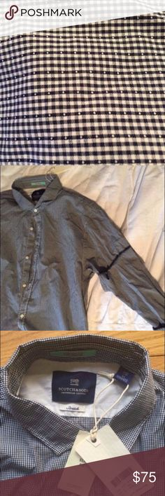 🔥NEW Scotch & Soda🔥Button Down; retail $95 🎉reasonable offers welcome🎉                                     Style: Vacanza #130713 Fit: Slim   Stretch Cotton Light Material   Classic Collar  Printed Pattern  Limited Edition   Details: plain weave, logo, checked design, classic neckline, long sleeves, buttoned cuffs, front closure, button closing, no pockets. Scotch & Soda Shirts Dress Shirts