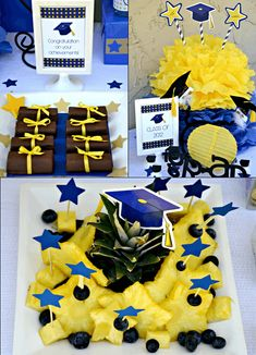 graduation party printables party ideas blue yellow starts party dessert table supplies party favors star_580x803