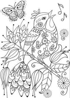 Ideas For Bird Crafts For Adults Dover Publications Adult Coloring Pages, Cute Coloring Pages, Animal Coloring Pages, Printable Coloring Pages, Coloring Sheets, Free Coloring, Coloring Books, Boy Coloring, Dibujos Zentangle Art