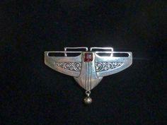 Art Nouveau Jugendstil Silver Brooch Pforzheim Germany Signed Andreas Odenwald