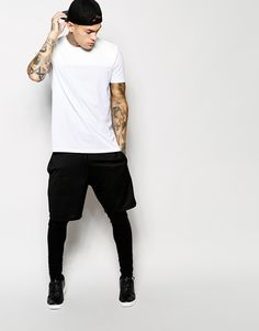 Stephen James ASOS T-Shirt With Leather Look Yoke Panel And Skater Fit ❤️