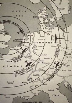 A map of the distance WWII fighters can fly from the UK mainland.