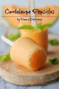 Dessert recipe for Mother's Day brunch | Cantaloupe popsicles.