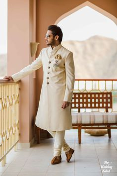 Groom Wear - The Dashing Groom! Photos, Hindu Culture, Beige Color, Groom Sherwani, Designer Groom Wear, Footwear pictures, images, vendor credits - The Wedding Salad, Manish Malhotra, Arpita Mehta, WeddingPlz