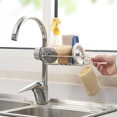 Keep the work area around your sink neat and everything you need for cleaning within easy reach with this Sink Storage Rack Holder. No more worries about having to deal with wet sponges and wet kitchen tops ever again! This handy, Sponge Holder can be pl Basket Shelves, Smart Kitchen, Kitchen Tops, Kitchen Ideas, Kitchen Decor, Kitchen Things, Ideas Para Organizar, Sponge Holder, Shopping
