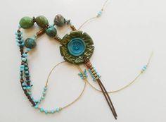 Boheemse sieraden rustieke ketting turkoois en groen Macrame