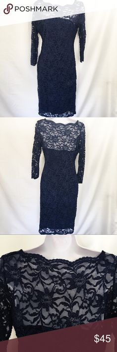 OYNX Nite navy blue lace cocktail dress Shine in the navy blue, 3/4 sleeve cocktail dress. This lace overlay dress has a sparkle detail and stretches and hugs your curves. Fully lined. Great for a wedding or special event.  40 inches long Onyx Nite Dresses