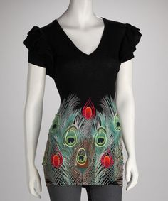 Take a look at this Black Pavo Real Top by Desigual Women on #zulily today! $59.99..Going VERY fast. Only Sz. Sm left.