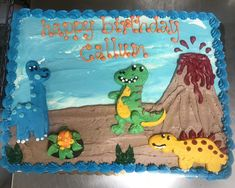 Cute Dinosaur sheet cake Animal Cakes, Cute Dinosaur, Happy, Food, Meal, Essen, Ser Feliz, Hoods, Happiness