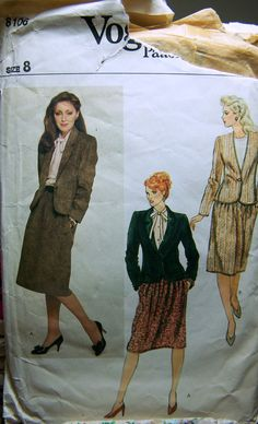 Vintage 70's Sewing Pattern Vogue 8106 Misses' Jacket and Skirt Bust 34 UNCUT  Complete by GoofingOffSewing on Etsy