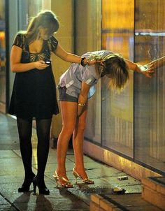 Naked drunk girls falling down