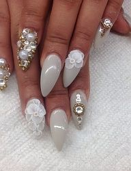 dove grey nails with flowers, pearl and crystal nail art